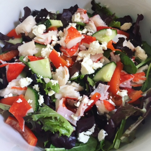 Krab and feta greek salad